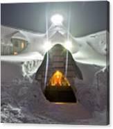 Timberline Lodge Entry Mt Hood Snowdrifts Canvas Print