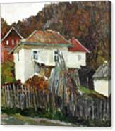 Time For Use The Stove. November In The Serbia. Canvas Print