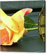 Time To Give A Rose - Yellow And Pink Rose - Clock Face Canvas Print