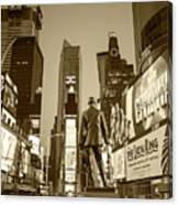 Times Square Ny Overlooking The Square Sepia Canvas Print