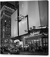 Times Square Subway Stop At Night New York Ny Black And White Canvas Print