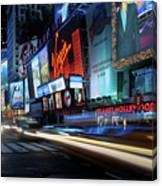 Times Square With Light Trail Canvas Print