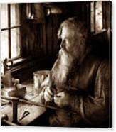 Tin Smith - Making Toys For Children - Sepia Canvas Print