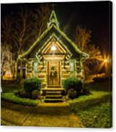 Tiny Chapel With Lighting At Night Canvas Print