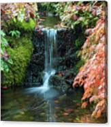 Tiny Waterfall In Japanese  Garden.the Butchart Gardens,victoria.canada. Canvas Print