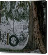 Tire Swing In Winter Canvas Print