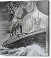 Titanic Drawing With Kate And Leonardo Canvas Print