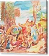 Titian Bacchanalia Color Canvas Print