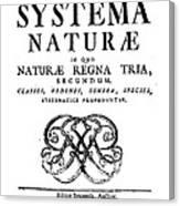 Title Page, Systema Naturae, Carl Canvas Print