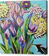 Pink Floral On Blue Canvas Print