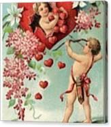 To My Valentine Vintage Romantic Greetings Canvas Print