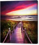 To The Beach Early Morning Watercolor Painting Canvas Print