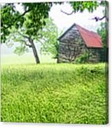 Tobacco Barn In Fog Canvas Print