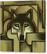 Wolf Wall Art - Gold Abstract Wolf - By Tommervik Canvas Print