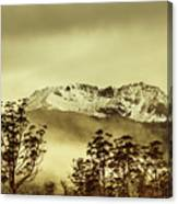 Toned View Of A Snowy Mount Gell, Tasmania Canvas Print
