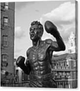 Tony Demarco Boxer Statue North End Boston Ma Sunset Black And White Canvas Print