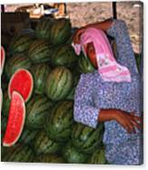 Too Hot To Sell Watermelons Canvas Print