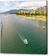 Top View Of English Bay In Summer, Vancouver Bc. Canvas Print