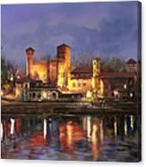 Torino-il Borgo Medioevale Di Notte Canvas Print