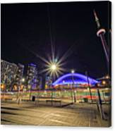 Toronto Harbourfront Street Car Light Trails Canvas Print