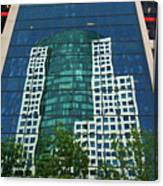Toronto Metro Hall Reflected In The Cbc Building Canvas Print