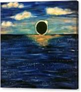 Totality On The Sea - Solar Eclipse  Canvas Print