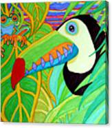 Toucan And Red Eyed Tree Frog Canvas Print