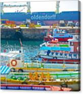 Tour Boats In Port Of Valparaiso-chile Canvas Print