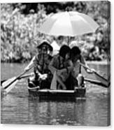 Tourist Boating Thru Tam Coc Bw Canvas Print
