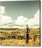 Tourist With Backpack Looking Afar On Mountains Canvas Print