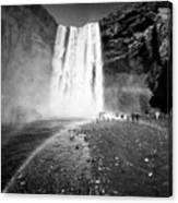 Tourists And Double Rainbow At Skogafoss Waterfall In Iceland Canvas Print