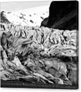 tourists at ash covered Skaftafell glacier and end moraine Vatnajokull national park in Iceland Canvas Print