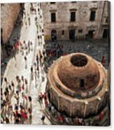 Tourists At Dubrovnik's Onofrio's Fountain Canvas Print