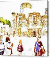 Tourists In The Castle Canvas Print