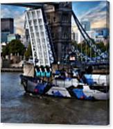 Tower Bridge And Boat Canvas Print
