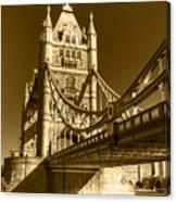 Tower Bridge In Sepia Canvas Print