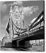 Tower Bridge Vertical Black And White Canvas Print