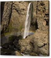 Tower Falls And Rainbow Canvas Print