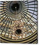 Tower Through Glass Dome In Bellagio Ceiling Canvas Print