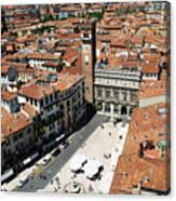 Tower View Of Piazza Delle Erbe In Verona Italy Canvas Print