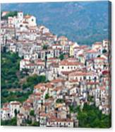 Town Clinging To A Hill Top In Southern Italy Canvas Print