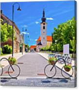 Town Of Bicycles Koprivnica Street View Canvas Print