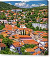 Town Of Drnis And Dalmatian Inland Panorama Canvas Print