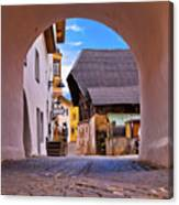 Town Of Kastelruth In Alps Street View Canvas Print
