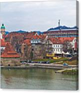 Town Of Maribor Riverfront Panoramic  Canvas Print
