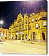 Town Of Ptuj Historic Main Square Evening View Canvas Print