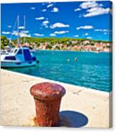 Town Of Tisno Harbor And Waterfront Canvas Print