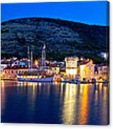 Town Of Vis Waterfront Evening Panorama Canvas Print