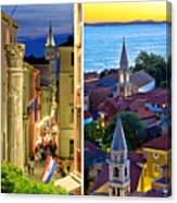 Town Of Zadar Evening And Sunset Travel Collage Canvas Print