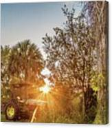 Tractor At Sunset Canvas Print